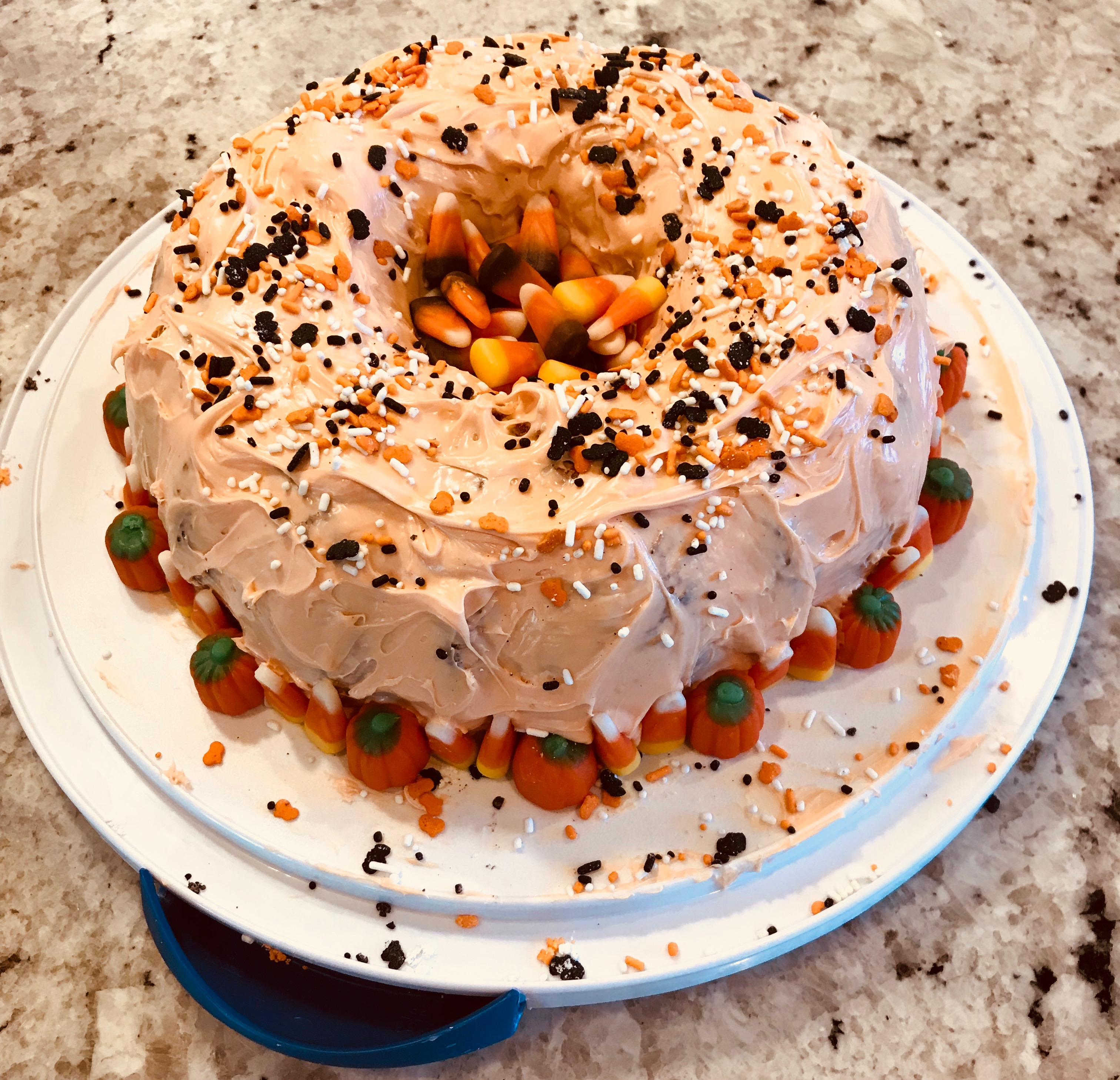 Candy Corn Hole Cake